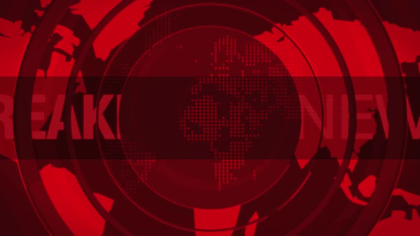 Computer generated animation of a breaking news title frame.