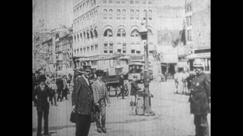 UNITED STATES 1900s: Broadway in the 1900s with Immigrants and Settlers in the Streets of New York