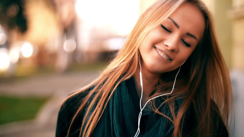 Young Nice Girl Listen Music Stock Footage Video 100 Royalty Free