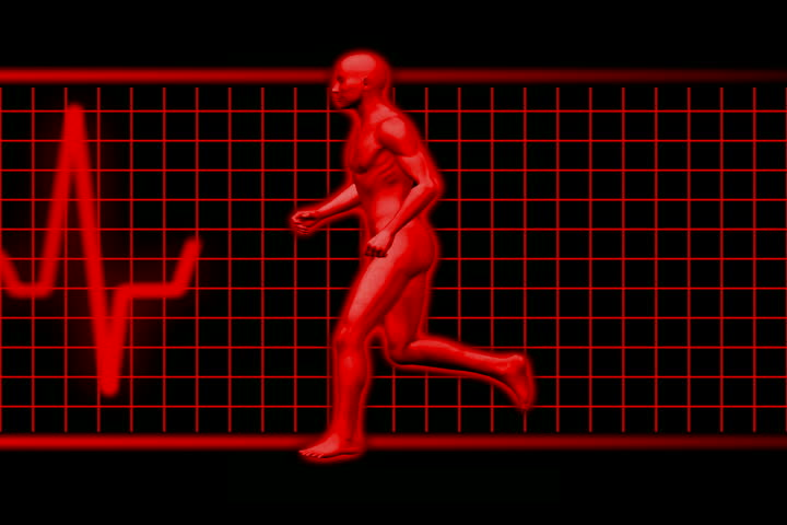 Man jogging withe EKG in background NTSC Loopable