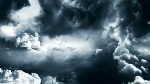 Animation of travelling through a storm in the heaven with rays and clouds