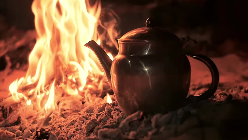 a tea in the desert by night, close up