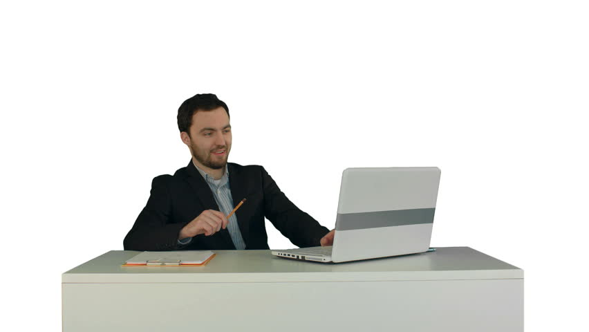 Happy and smile man webcamming with friend on laptop on white background isolated | Shutterstock HD Video #13594424