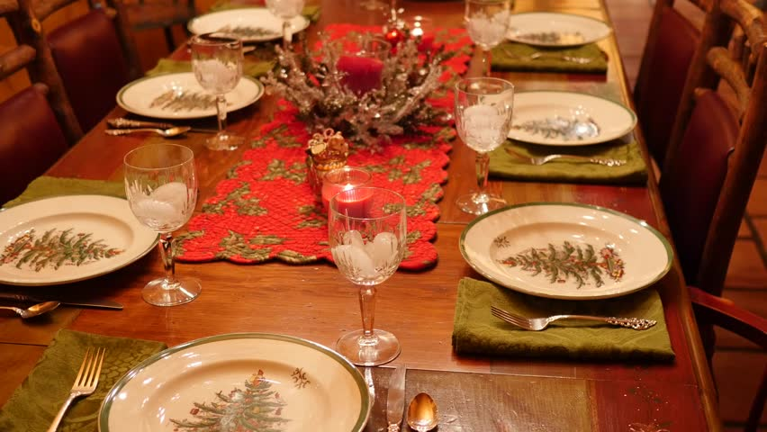 A table is decorated and set up for a family christmas dinner - 4K stock video & Chinese New Year Party Table In Red And Gold Theme With Food And ...