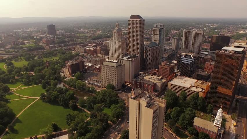 Hartford Aerial v8 Flying over downtown panning down to vertical shot. 10/15