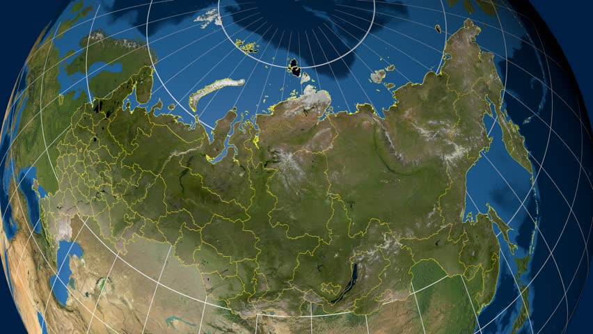 Amur Region Extruded On The Satellite Map Of Russia Elements Of