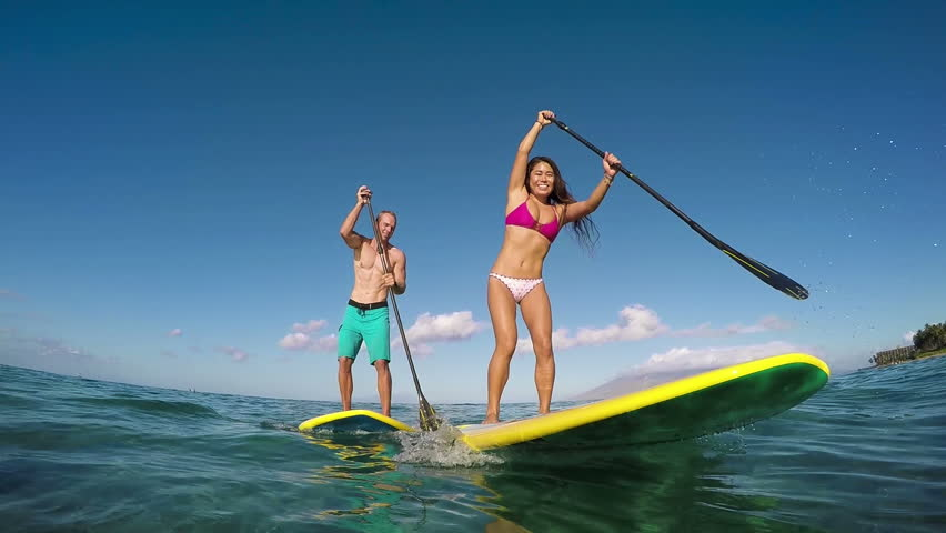 Happy Couple Stand Up Paddling, Summer Sport