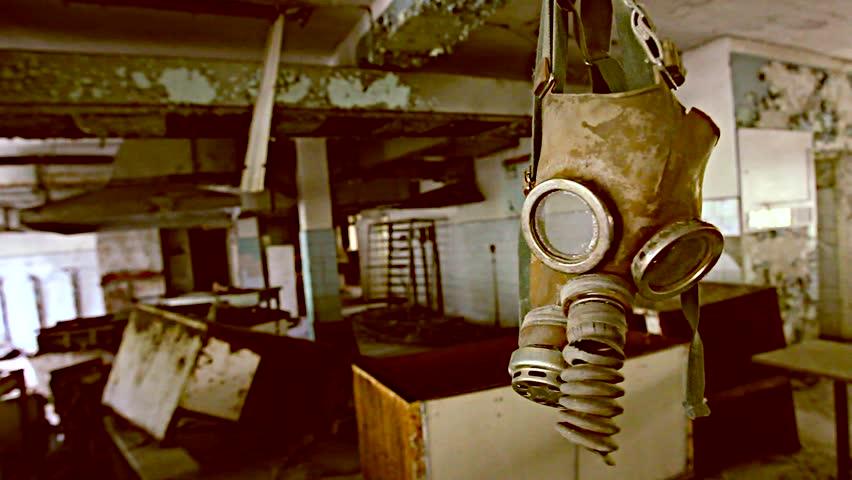Exclusion Zone. Chernobyl. Pripyat. Ukraine. Radiation mask in an abandoned house.