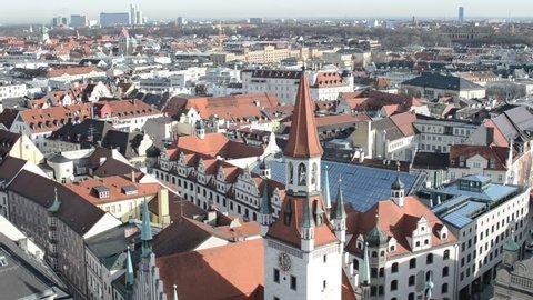 MUNICH, BAVARIA / GERMANY December 04 2015:Aerial view of Munich with its Alte Rathaus (old town hall) and church Heiliggeist next to Viktualienmarkt.