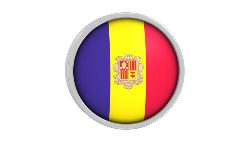 Andorran flag with circular frame. Part of a series. | Shutterstock HD Video #1364614
