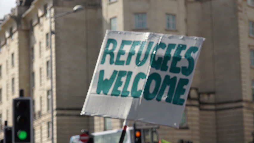 "Bristol, UK - september 12 2015 - Refugees Welcome Here: National Day of Action (Bristol) - ""demonstration in Favour of migrants: open european border""- Bristol, UK"
