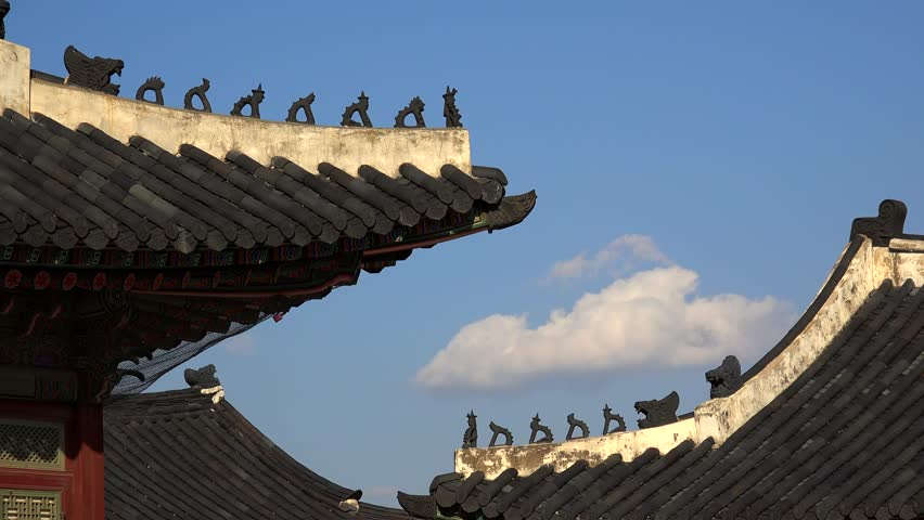 Traditional Korean Japsang Guardian Figures on the roof of pavilions in the Gyeongbokgung Palace. Seoul, South Korea   Shutterstock HD Video #13663358