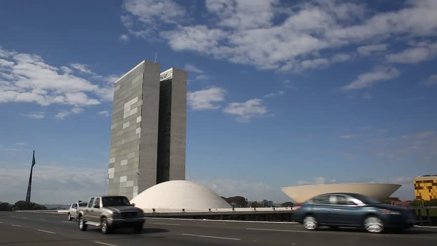 BRASILIA, DF - BRAZIL. JULY 2015: The National Congress of Brazil, at the Three Powers Plaza is the legislative body of Brazil's government. The construction was designed by Oscar Niemeyer.