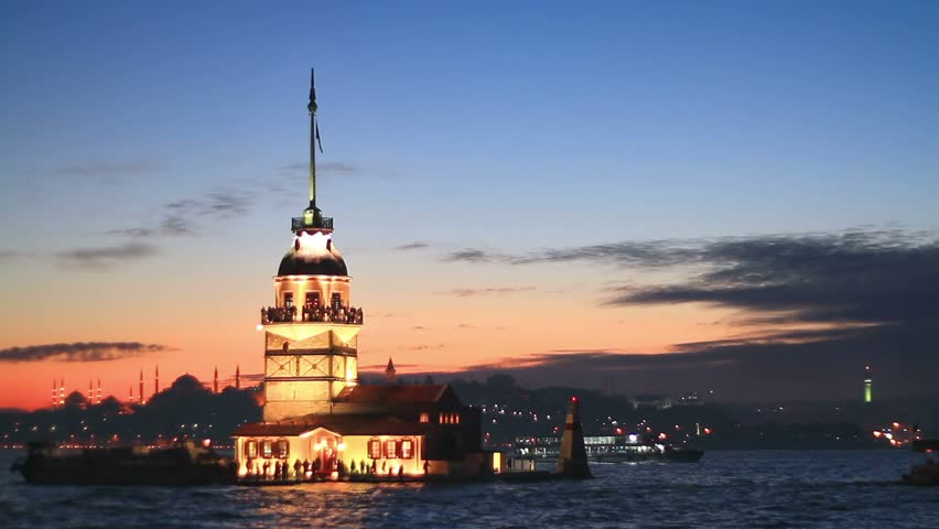 Istanbul Maiden Tower from the east in sunset. In the distance are such
