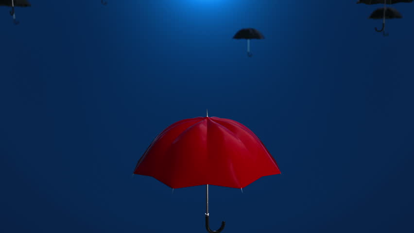 Animation of flying black umbrellas with individual umbrella other color.