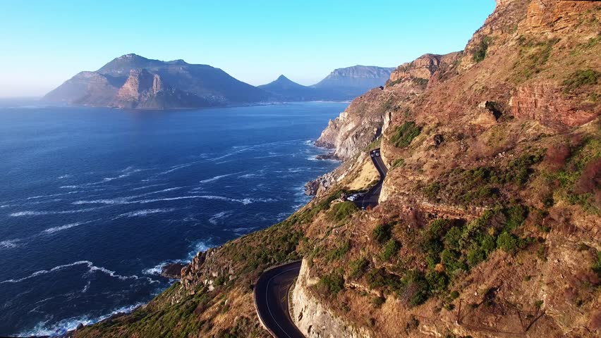 Cape Town Flying Over Chapman's Peak Drive and the Ocean - 4K Drone Footage