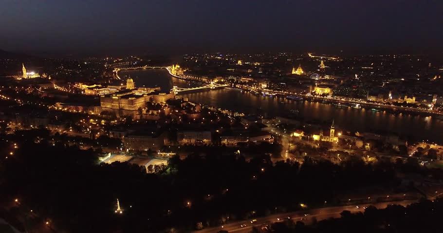 Aerial night view around Buda Castle, Budapest | Shutterstock HD Video #13706864