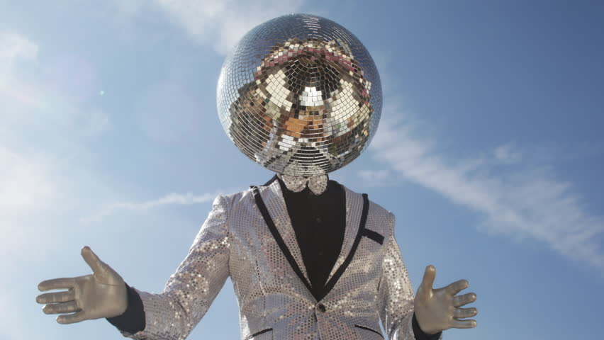 Mr discoball. a super cool disco club character enjoying some summer sunshine | Shutterstock HD Video #13727384