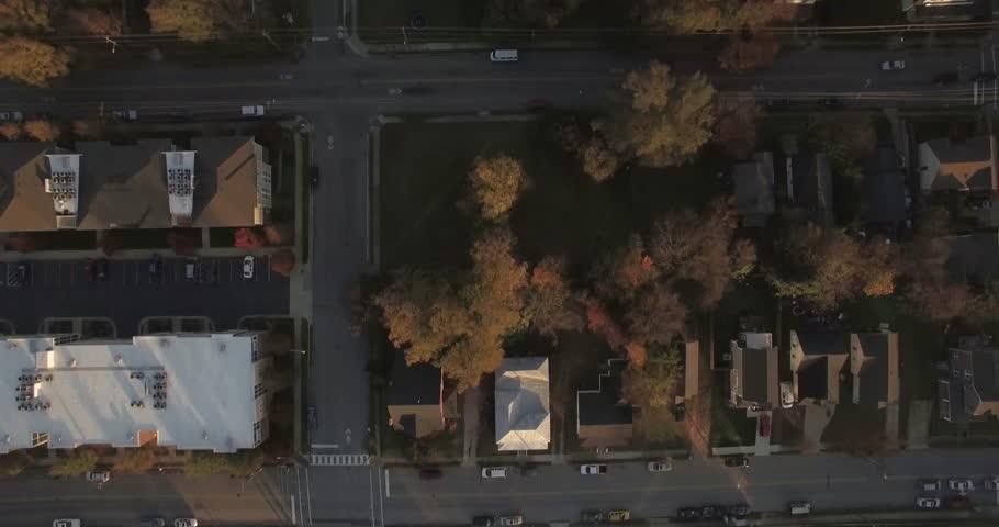 A bird's eye view of an urban residential neighborhood in Raleigh, NC.