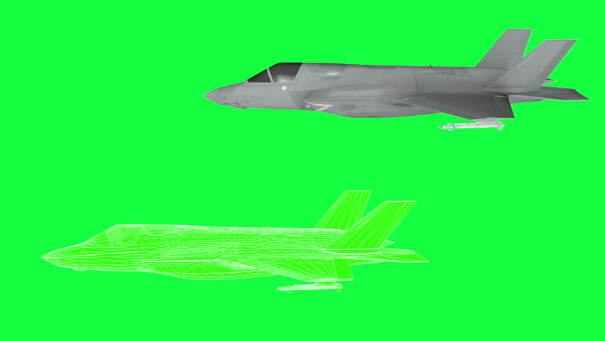 Military plane F-35 , rotate animation , wireframe render. green screen footage