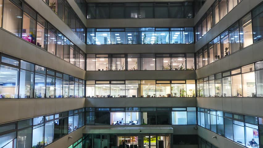 Zoom out Time lapse of busy city office workers together in large modern office building | Shutterstock HD Video #13780376
