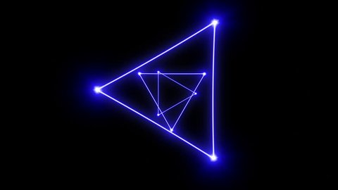 Bright colorful laser triangles zooming past the camera (seamless loop)