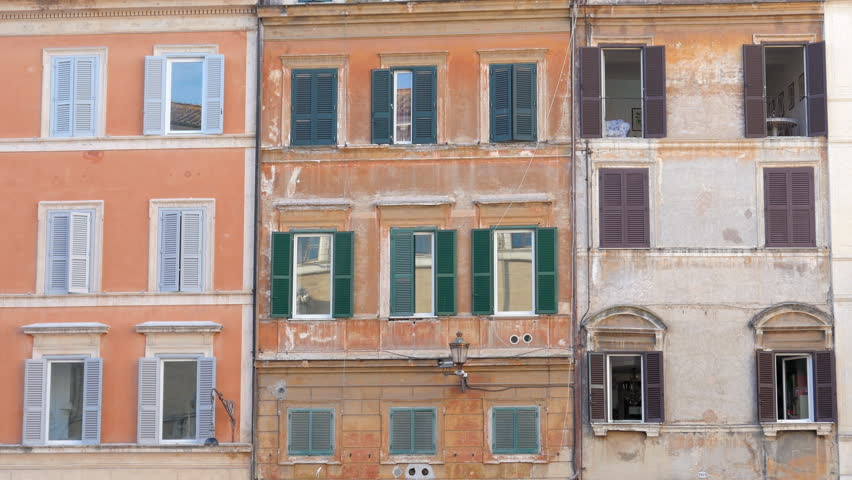 View Of Old Apartments, Rome, Italy, 4k   4K Stock Footage Clip