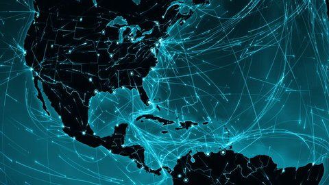 Earth connections. Central America. Aerial, maritime, ground routes and country borders. Animation of the Earth with bright connections and cities. 2 in 1. Dolly and Locked. Cyan.
