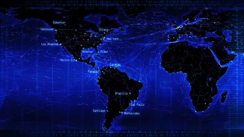 World map with connections and cities. Loopable world map with major cities names and country borders. Aerial, maritime and ground routes. Blue. More color options in my portfolio.