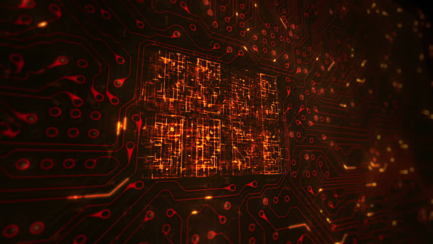 Futuristic circuit board with moving electrons. Loopable. Technology. Orange. Locked with CPU animation. Lateral view. More color options in my portfolio. | Shutterstock HD Video #13807034