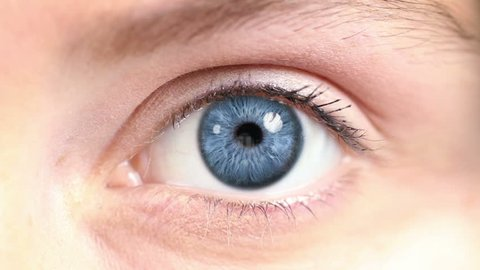 Human Eye. Blue and green. Regular skin. 2 in 1. Close-up of a colored eye blinking. Each video is loopable.