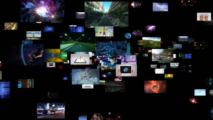 Journey through video screens. Alpha matte. Selection of screens showing multiple themed videos. | Shutterstock HD Video #13809134