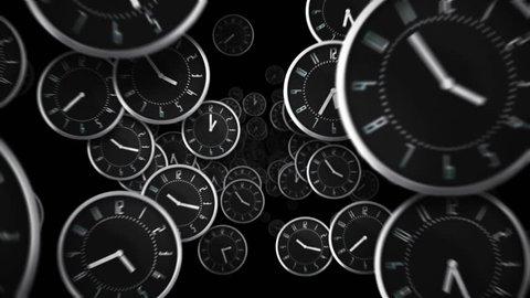 Black clocks flying. Loopable. Alpha matte. More color options in my portfolio.