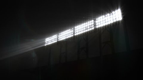 Stadium Floodlights shining brightly. White. 5 shots in 1 video. Five sizes of Stadium floodlights flashing and turning on and off. More color options in my portfolio.