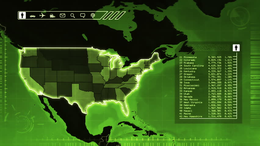 World Map With Us Statistics Population Airports Routes And Railroads Green Highly Detailed Us Map Loopable Accurate Statistics