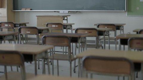 Empty high-school classroom, Chiba Prefecture, Japan