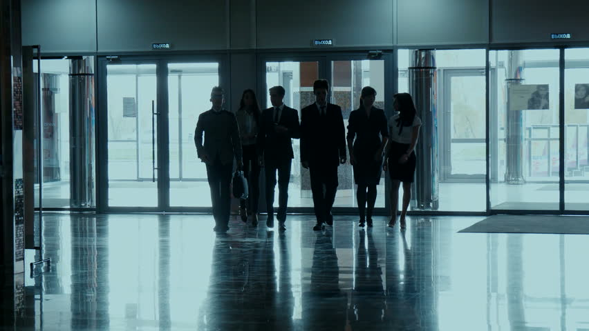 Business team, businesspeople group walking at modern bright office interior | Shutterstock HD Video #13824266