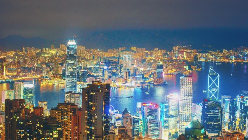 Hong Kong, China Night Panorama 4K Timelapse | Shutterstock HD Video #13829447