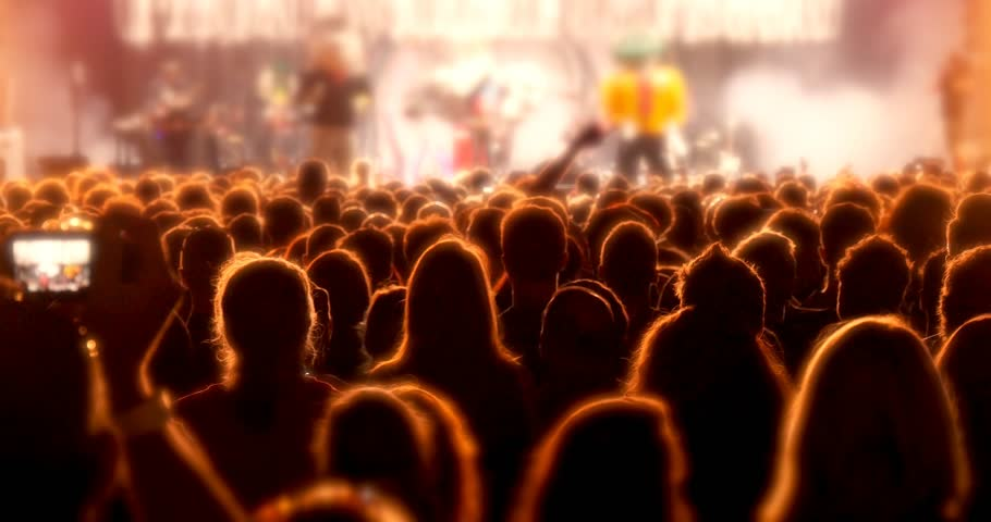 Crowd partying at rock concert festival stage event | Shutterstock HD Video #13850024