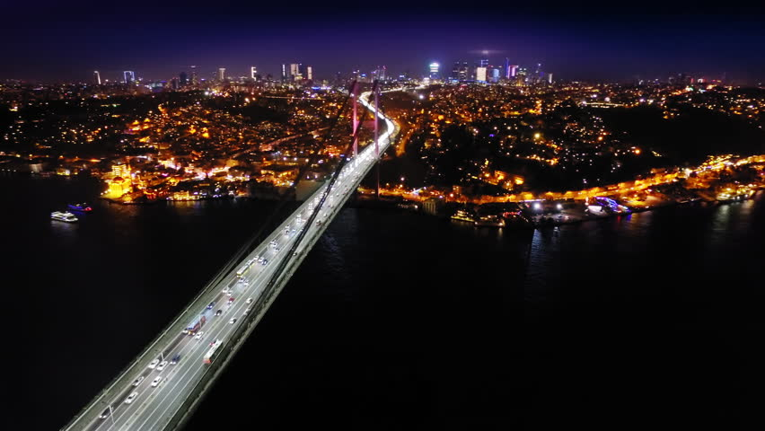 Aerial Drone Footage Of Bosporus Bridge In Istanbul The Evening