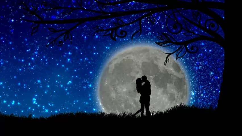 Night Moon Romance Love Stars Sky Clouds Wallpaper: A 3D Rendered Silver Heart Shaped Moon Shiny At A Lovely