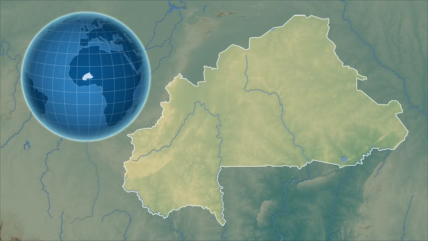 Burkina Faso Shape Animated On The Physical Map Of The Globe Stock