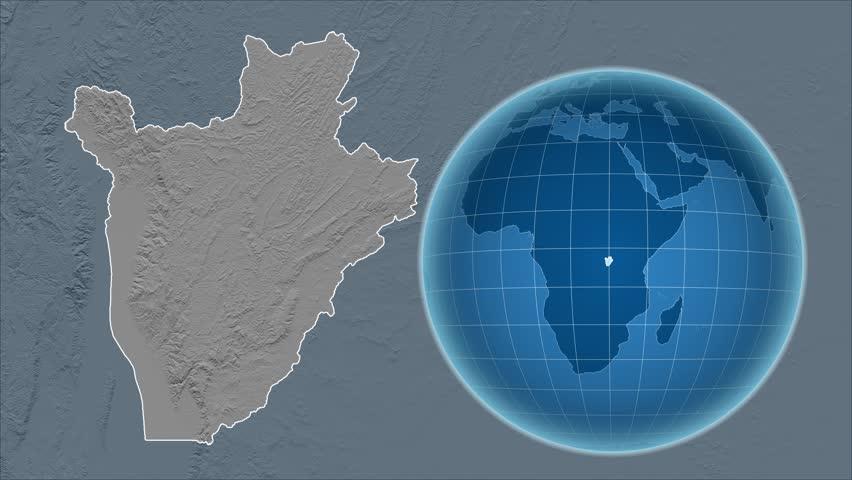 Burundi Shape Animated On The Physical Map Of The Globe Stock