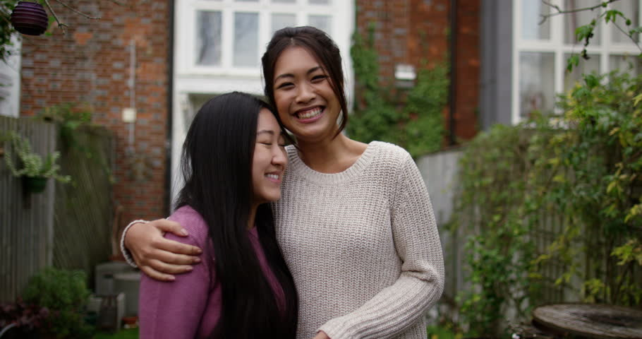 Asian Lesbian Couple Get A Key To Their New Home Shot On Red Epic Stock Footage -7568