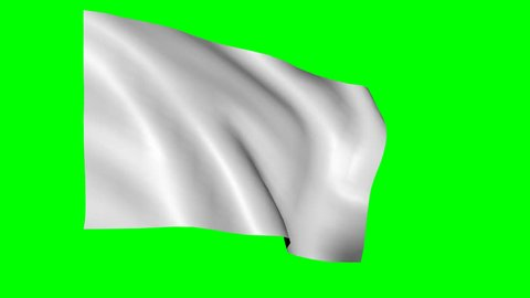Loopabe white flag waving against chroma key green background. Alpha channel included for easy background replacement.
