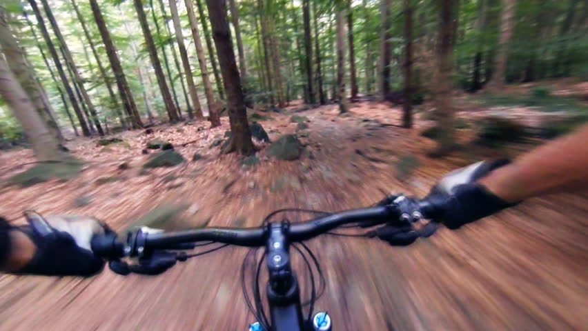 Speed riding downhill a MTB bike on rocky mountain. View from first person perspective POV. Gimbal stabilized view. | Shutterstock HD Video #14017424