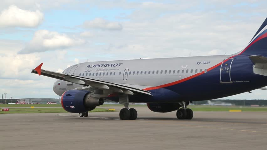 MOSCOW, RUSSIA - September 14: Aeroflot aircraft moving on the airport area at Sheremetyevo. Aeroflot is the largest airline in the Russian Federation