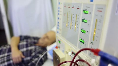 Medical equipment. The process of dialysis. Hemodialysis machine.