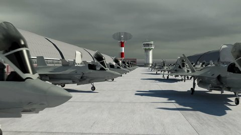 American USA air military base. jet fighter F-35 . Realistic CG animation