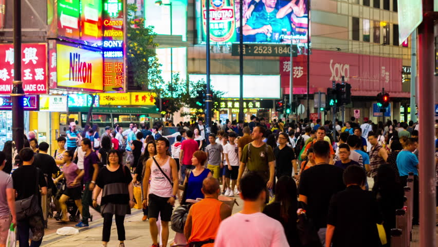 HONG KONG - 13 SEPT 2013: Timelapse view of people on the streets Hong Kong city at Causway Bay. Hong Kong is a major financial hub in the Asia region on 13 September 2013 in Hong Kong, China | Shutterstock HD Video #14084714